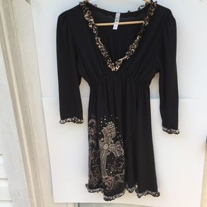 L & B Baby Doll Style Tunic Dress Leopard Trim